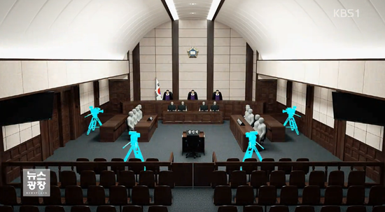朴槿惠案一审宣判法庭场景(模拟图)
