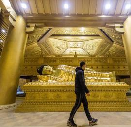 """太原复建唐代舍利塔 用65吨纯铜打造""""黄金""""地宫"""