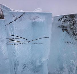 """""""最北""""蓝冰河冰块蓝如海水 水草冻结其中画风独特"""
