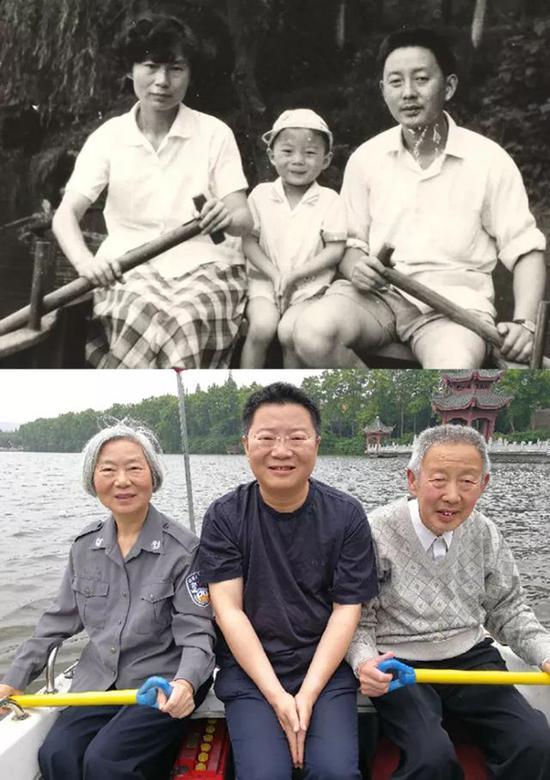 襄阳市公安局樊城分局民警郝超和父母跨越36年的合影。