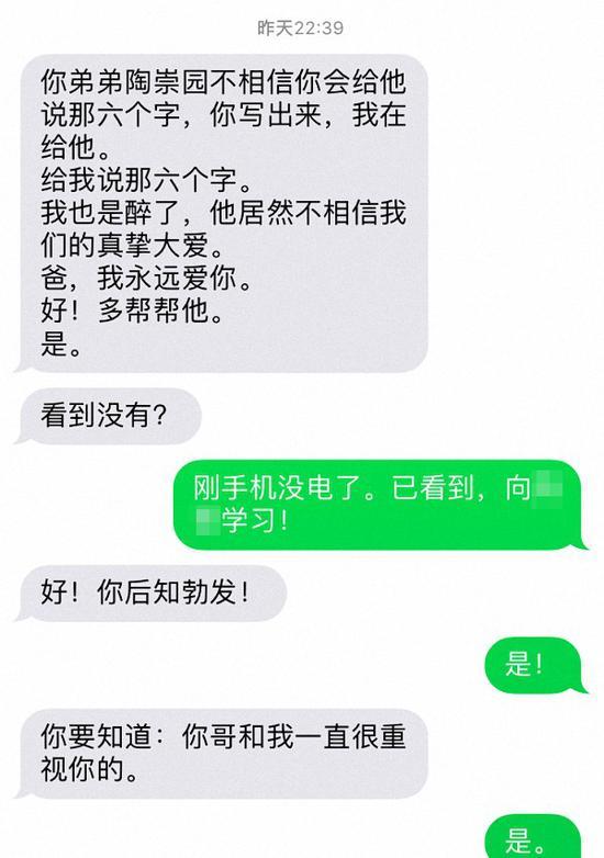王庞和陶崇园的聊天记录。