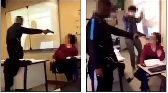 ▲學生槍指老師視頻截圖 圖據紐約郵報