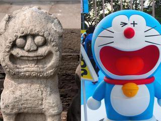 太原文庙石狮被戏称哆啦A梦