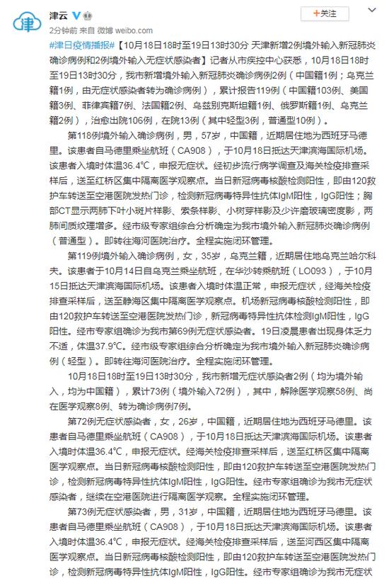 天津新增2例境外输入新冠肺炎确诊病例和2例境外输入无症状感染者图片