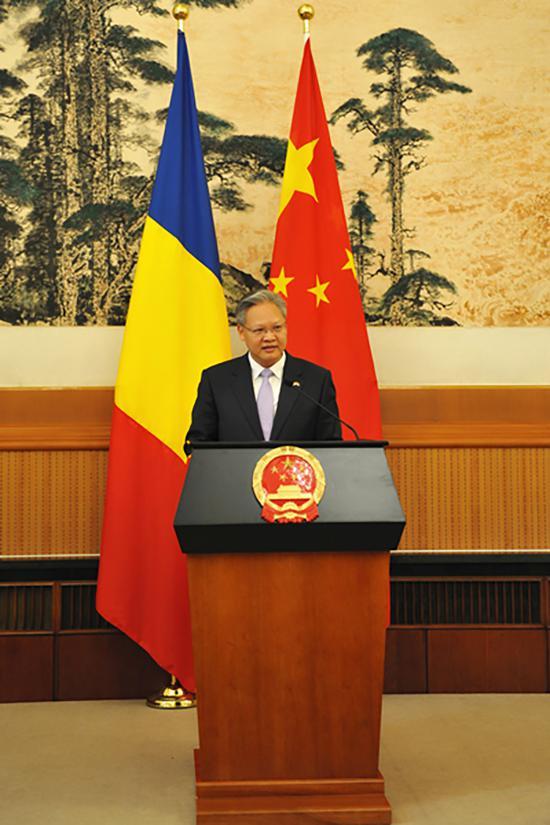 2018年5月15日,驻罗马尼亚大使徐飞洪在离任招待会上的致辞。 中国驻罗马尼亚大使馆官网 图