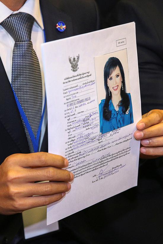 泰国公主乌汶叻的总理候选人申请。 视觉中国 图