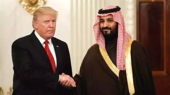 美国总统特朗普与沙特王储穆罕默德⋅本⋅萨勒曼