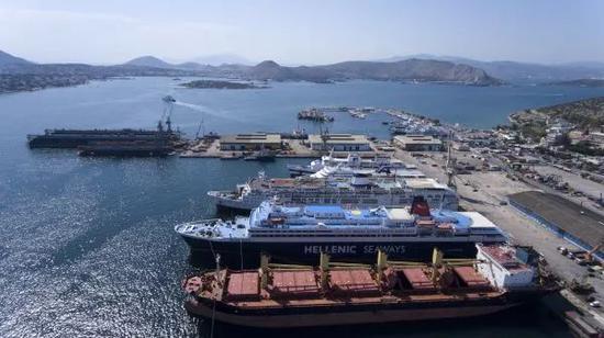 ▲中国企业投资的希腊比雷埃夫斯港修造船厂