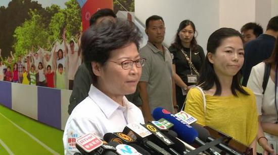 """林郑月娥8月5日重申对待""""港独""""的立场。图自香港政府新闻网"""