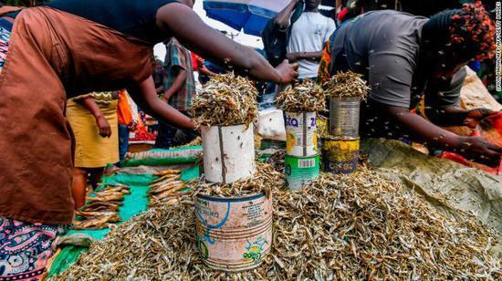妇女们在内罗毕郊区的市场上售卖鱼干 CNN 图