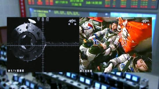 2012年06月18日,刘旺在太空进行首次手控交会对接