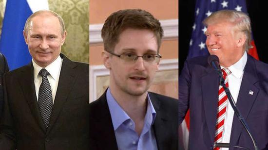 普京(左)、斯诺登(中)、特朗普(右)。