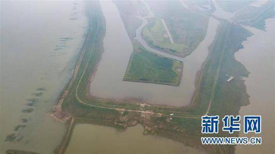 夏姓私企老板建造的矮围一角(5月10日无人机航拍)。 新华网 资料图