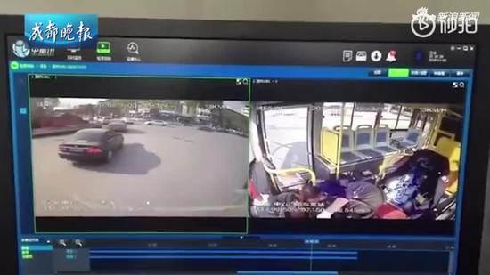视频|汉中公交车失控撞车监控曝光:司机在车内突然