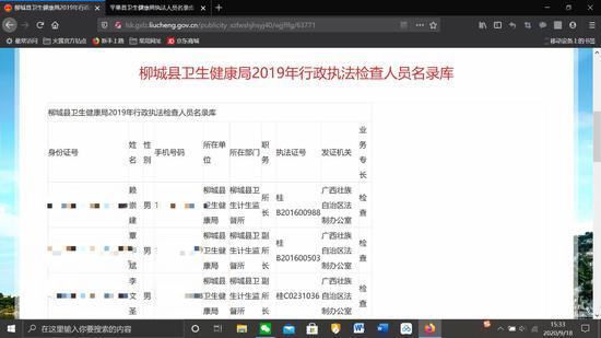 广西柳州柳城县人民政府门户网站历史站上公布的《柳城县卫生健康局2019年行政执法检查人员名录库》。上述图片系澎湃新闻基于保护隐私需要打码,原页面没有打码。