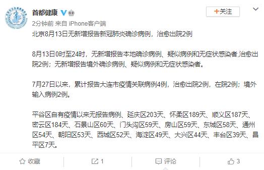 北京13日无新增报告新冠肺炎确诊病例 治愈出院2例