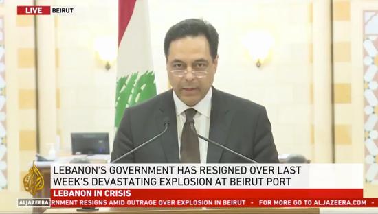 黎巴嫩总理迪亚卜发表电视讲话。/半岛电视台视频截图
