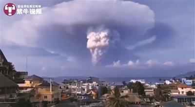 火山喷发时的景象。