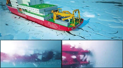 船艉在海底通过螺旋桨把冰打碎,同时推进。