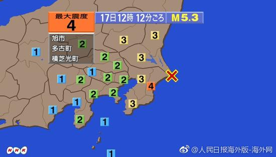日本千叶县发生5.3级地震 无发生海啸危险