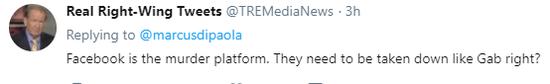 @TREMediaNews:脸书就是一个杀人的平台。他们就应该像Gabriel一样给撤下来不是吗?