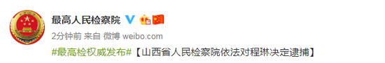 山西省人民检察院依法对程琳决定逮捕