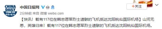 载有117位在韩志愿军烈士遗骸的飞机抵达沈阳桃仙国际机场图片