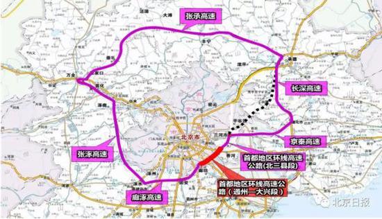 首都地区环线高速示意图。