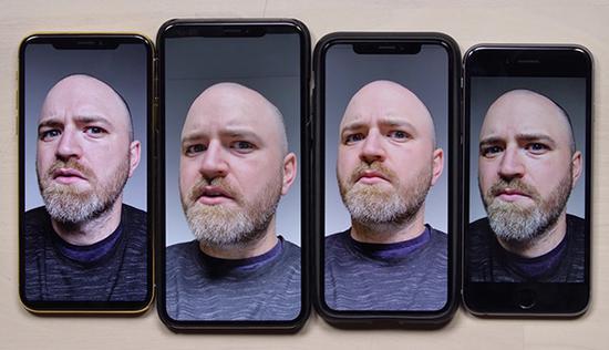 Hilsenteger的自拍效果对比图,从左至右的iPhone型号分别是iPhone X、iPhone XS Max、iPhone XS、iPhone 6