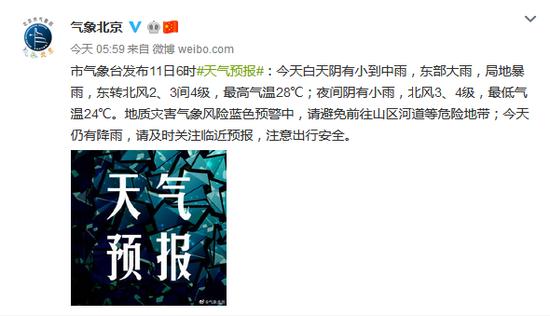 北京11日白天阴有小雨 东部大雨局地暴雨_我要网赚