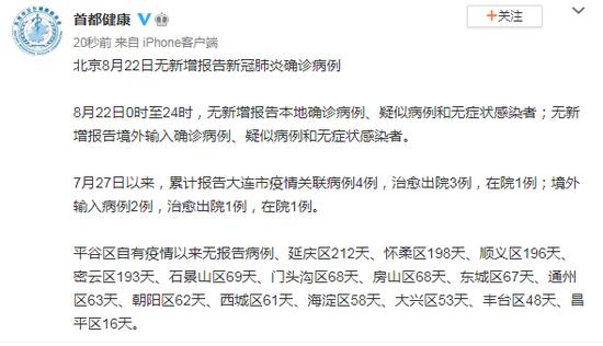 北京8月22日无新增报告新冠肺炎确诊病例