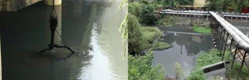 企业设置潜污泵,废水直排严重影响金水河水质。图片来源:生态环境部微博。