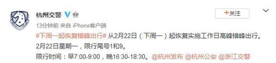 杭州:2月22日起恢复实施工作日高峰错峰出行图片