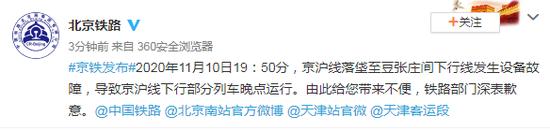京沪线落垡至豆张庄间下行线发生设备故障 部分列车晚点运行图片
