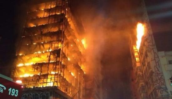 Brazil São Paulo building collapses in huge blaze