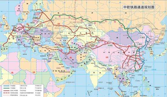 中欧铁路通道,实线为已有通道,虚线为规划通道(中国一带一路网 图)
