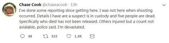 ▲来到现场之后,我已经做了一些报道,目前我所知道的情况,据警方透露,一名嫌疑人已被逮捕,五人死亡,死者身份尚未确定。我快要崩溃了。