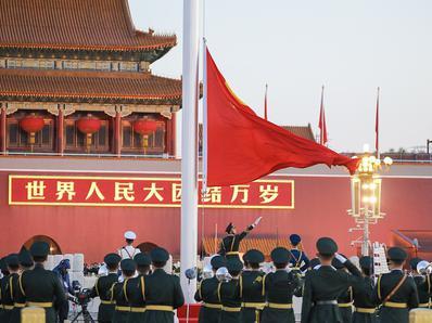 北京天安门国庆升旗仪式现场
