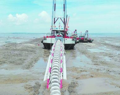 图为金门自大陆引水工程 资料图片