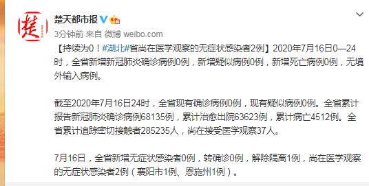 【赢咖3测速】湖北省尚在医学观察赢咖3测速的无症图片