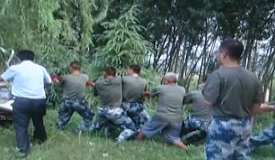 视频:货车失控撞树司机被卡 10多位空军战士徒手