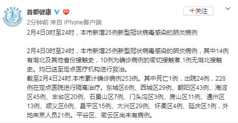 北京新增25例新冠肺炎确诊病例 累计253例图片
