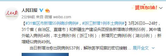 31省区市新增55例确诊病例,浙江新增1例本土病例图片