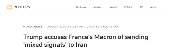 <b>特朗普点名批评马克龙:没人能代表美国与伊朗对话|特朗普|马克龙</b>