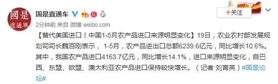 取代美国进口 中国1-5月农产品进口来源于显著变化