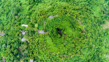 航拍海口石山火山群世界地质公园