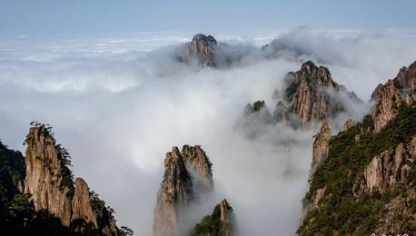 雨后黄山现云海美景 美如画卷