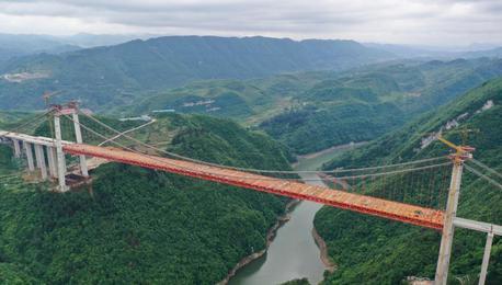 航拍建设中的贵州阳宝山特大桥