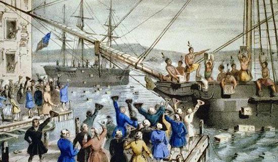 描绘波士顿倾茶事件的画作。
