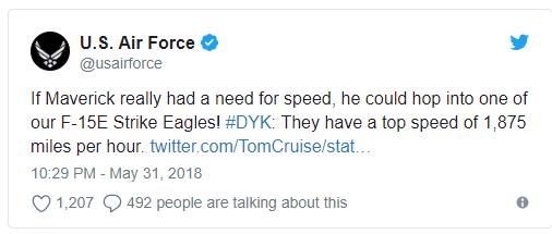 美国空军社交媒体发言截图